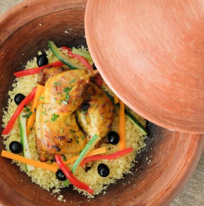 Marokański tajine z kurczakiem i warzywami